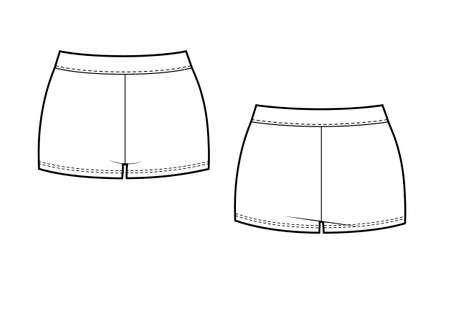 Women's short tights. Vector illustration. Fashion flat sketch