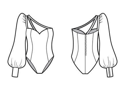 One-shoulder swimsuit technical fashion illustration with fitted body. Vettoriali