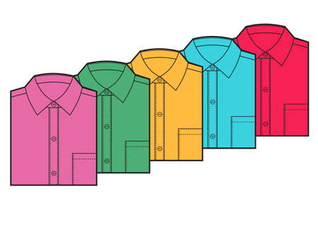 Mens blank folded shirt template. Multicolored shirts set. Vector