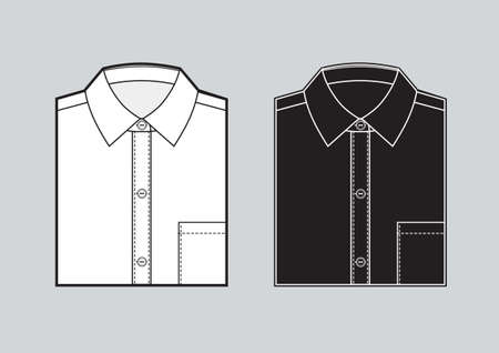 Mens blank folded shirt template. Two shirts set. Black and white shirts. Vector