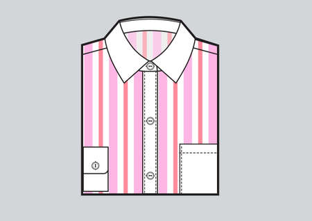 Mens folded striped shirt. Pink strips print. Vector