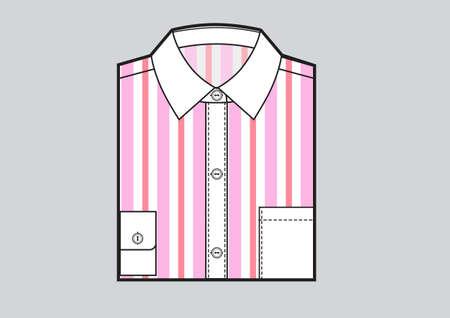 Mens folded striped shirt. Pink strips print. Vector Vektoros illusztráció