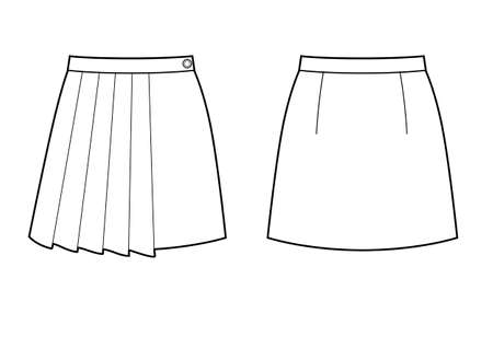 Technical drawing sketch skirt with pleats vector illustration. Vektorové ilustrace