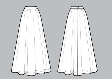 Long maxi skirt vector illustration black and white line sketch.