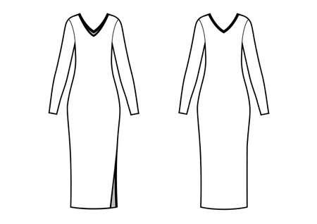 Elegant slim midi dress with V-neck, flat sketch, front and back views