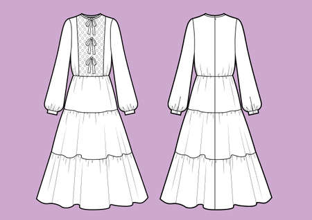 Vector illustration of cute dress. Front and back. Womens clothes.