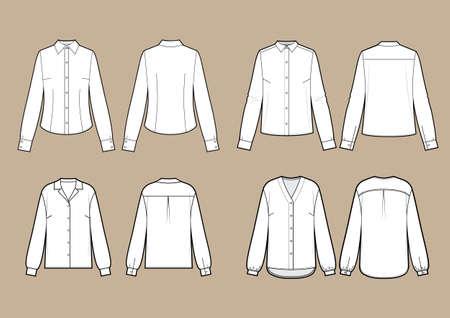 Blouse set, different models set. Vector illustration