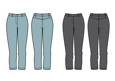 Womens clothing set of jeans. Vector templates in front and back for fashion design.