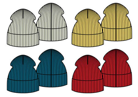 Set of four winter knitted hats, sketch style vector illustrations isolated on white background. Vector template. Ilustracja