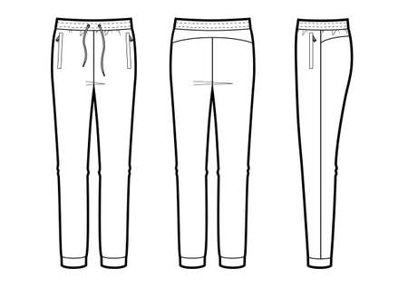 Vector illustration of womens joggers pants. Front, back and side views, for sports wear.