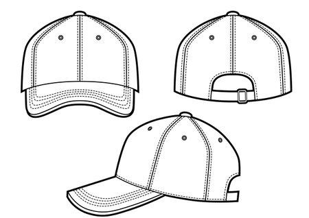 Baseball cap vector illustration on white, front, back, side views Vektoros illusztráció