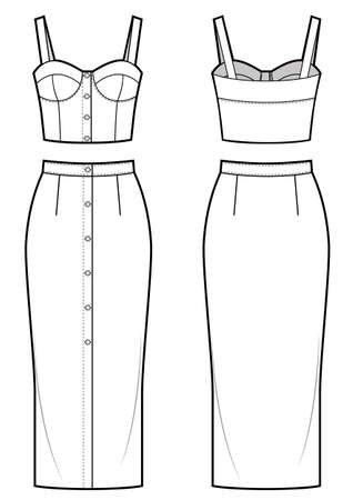 Womens clothing set of bra top and pencil skirt.