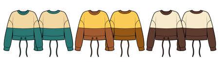 Set of cropped sweatshirts, colored fashion flat sketch