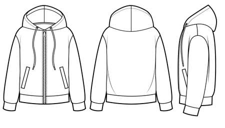 Blank Men's and Women's hoodies in front, back and side views. Zipper clasp on front Ilustração Vetorial