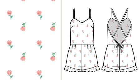 Fashion technical drawing of homewear short jumpsuit for women, flower pattern