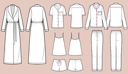 Sleepwear vector isolated template illustration, bathrobe, pajamas, shorts, tank top. Vector Illustration