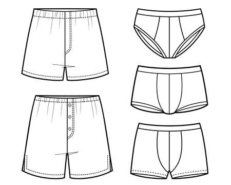 Vector Set of Sketch Mens Pants. Different types of Underclothing.