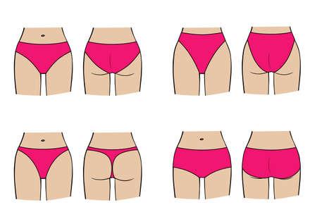 Types of womens panties. Vector set of underwear on figure.