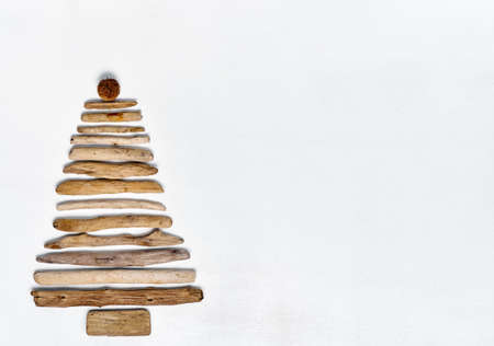 Christmas Tree made with driftwood. Stock Photo
