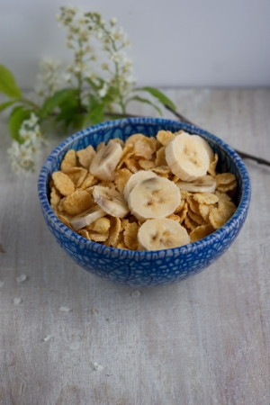 Corn flakes in a blue plate on a light background Stock Photo - 19186879