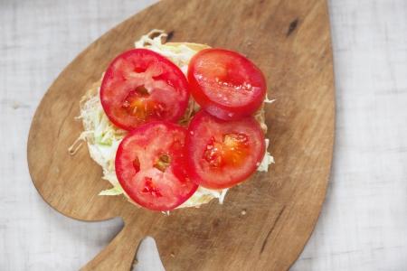 vegetarian hamburger: vegetarian hamburger on the wood brown board