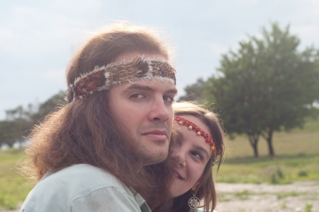 portrait two hippie - young men and women
