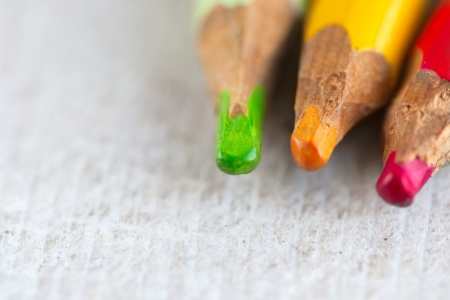 clerical: coloured pencils - green, yellow, red Stock Photo
