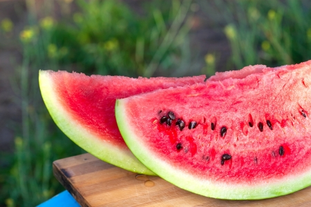 sweet bright rich red watermelon with stones photo