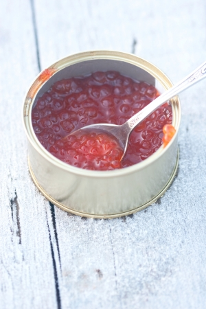 snowbound: red soft caviar in the can on the snowbound board