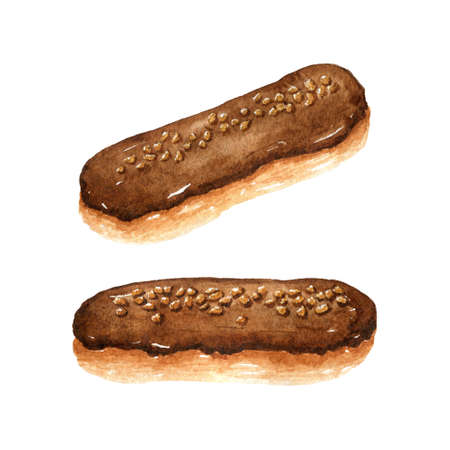 Chocolate eclairs with nuts isolated on white