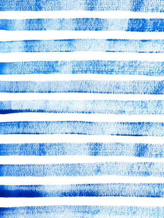 Hand-drawn striped background with blue lines. Dry brush texture with paint. Abstract gouache painting. Perfect for your project, decorations, cards, covers, invitations. Stock Photo