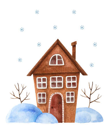 Watercolor winter composition with a brown house in snowdrifts, trees and snowfall. Christmas card design. Hand-drawn illustration. Perfect for greeting cards, covers, posters, prints, invitations 版權商用圖片
