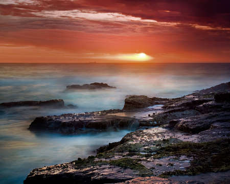 Sunrise on East Coast of Australia, with ship on the horizon Stock Photo - 2368123