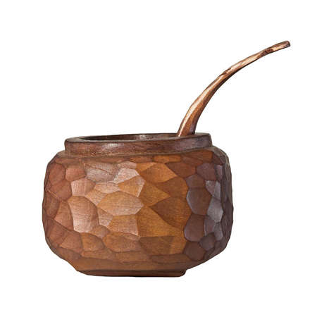 Sugar bowl, hand carved from a piece of timber Stock Photo
