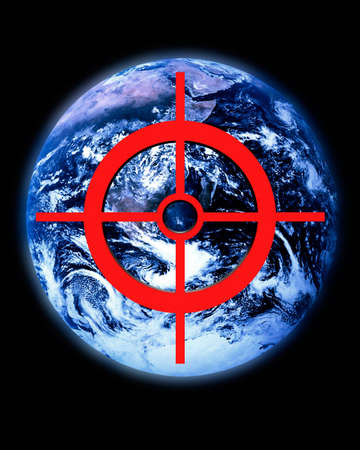 threatened: Earth image with superimposed crosshair