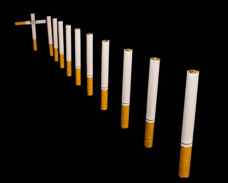 A trail marked with cigarettes, leading to grave Stock Photo