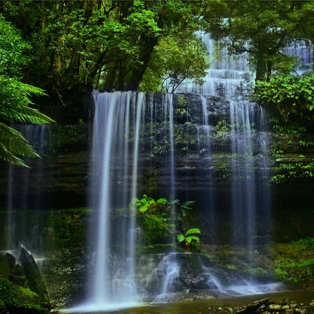 place of interest: Waterfall in National Park in Tasmania, in summer