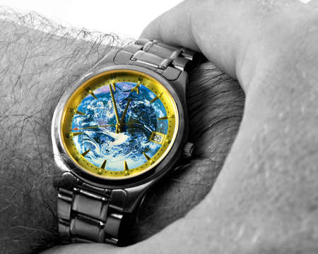 Watch with Earth face, showing time 11:55