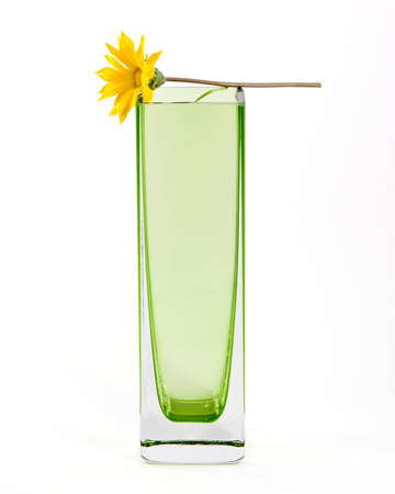 Yellow flower in a simple green glass vase, on white background