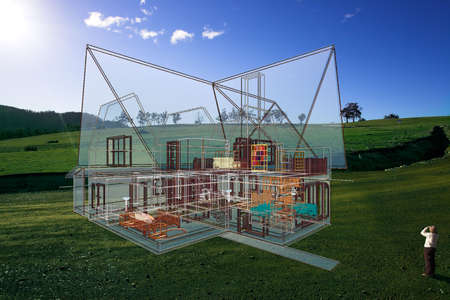 GHreen block of land with superimposed architectural semitransparent 3D sketch and a woman watching