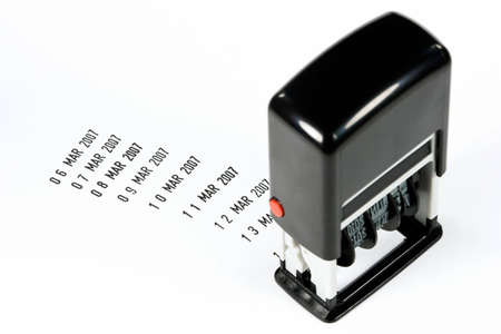 progressively: Date stamp with progressively increasing date stamped on white background