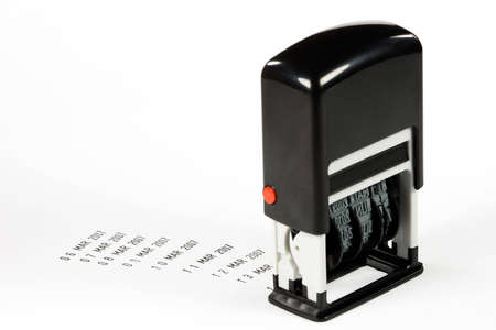 Date stamp with progressively increasing date stamped on white background