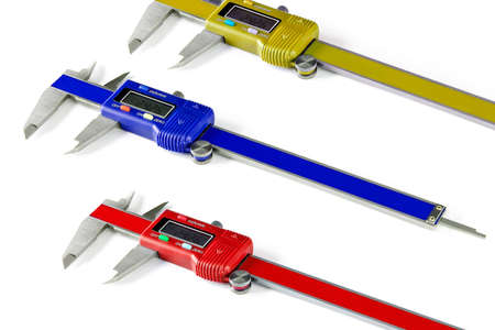 Set of three vernier calipers on white background
