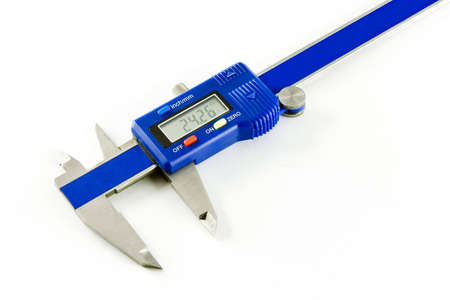 Vernier caliper with jaws open on white background
