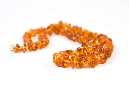 Amber necklace on white background Stock Photo