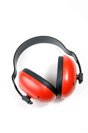 Hearing protection earmuffs on white background