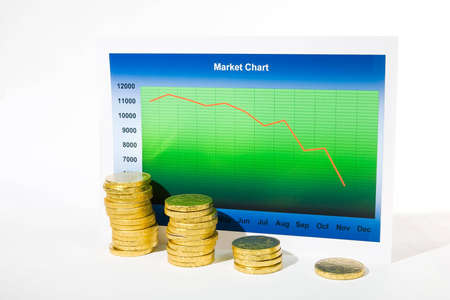 Market chart with declining graph and pile of money