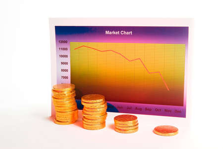 meltdown: Market chart with declining graph and a stack of money Stock Photo