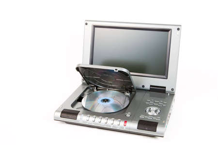 DVD player with open lid on white background