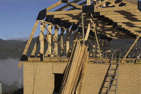plywood: Building site of a new house in Tasmania, Australia